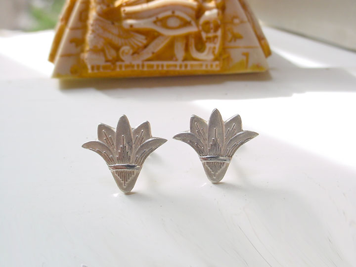 silver lotus flower earrings