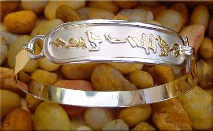silver with gold cartouche bracelet